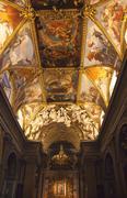 santa maria in trevio church painted ceilings altar rome italy - stock photo