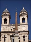 trinita dei monti french church top of spanish steps obelisk rome italy - stock photo