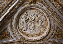 vatican ceiling inside sculpture christ talking to his disciples rome italy - stock photo