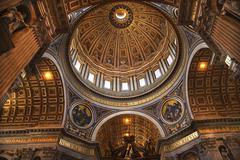 vatican inside michaelangelo's dome rome italy overview - stock photo