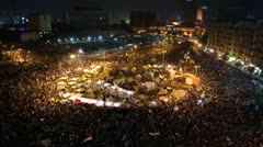 Demonstrations go on into the night in Cairo, Egypt Stock Footage
