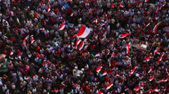 Overhead view of protestors in Cairo, Egypt - stock footage