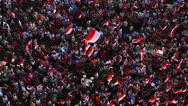 Stock Video Footage of Overhead view of protestors in Cairo, Egypt