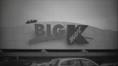 K Mart vintage black and white view Stock Footage