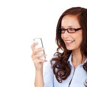 happy woman reading an sms on her mobile - stock photo