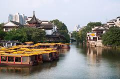 View from Wende Bridge, Confucius Temple Scenic Area, Nanjing, China Stock Photos