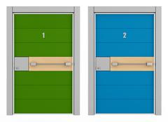 green and blue armored door - stock illustration