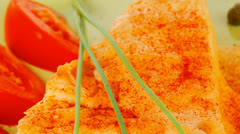 Food : cheese casserole piece on green Stock Footage