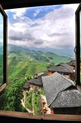 View from Hilltop Village at the Dragon's Backbone Rice Terraces, China Stock Photos