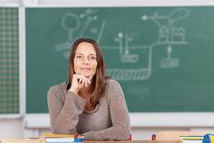 Female schoolteacher sitting in the classroom Stock Photos