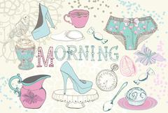 Background with morning tea Stock Illustration