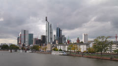 Frankfurt Cityscape with Dark Clouds TL A Stock Footage