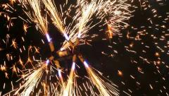 Sparks from fireshow, huge fire mill, flame artists, fireworks, celebration Stock Footage