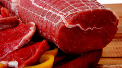 Meat prepared for cooking Stock Footage