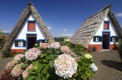 houses in madeira island - stock photo
