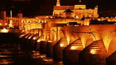 Cordoba. Roman bridge Stock Footage