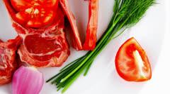 Fresh raw ribs on plate Stock Footage