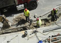 Utility company construction team repair Stock Photos