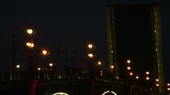 Diluted Troitsky bridge in St. Petersburg Night Stock Footage