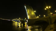 Stock Video Footage of Diluted Troitsky bridge in St. Petersburg Night