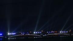 Trinity bridge in St. Petersburg Night Stock Footage