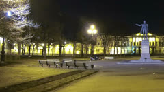 Square of Arts in St Petersburg Night Stock Footage