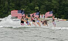 july fourth on the lake - stock photo