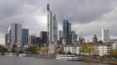 Frankfurt Cityscape with Dark Clouds TL C Stock Footage