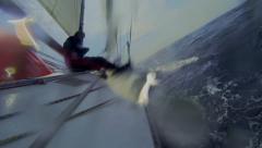 Sailor hoisting courtesy flag Stock Footage