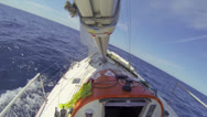 Stock Video Footage of ocean racing upwind