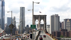 Brooklyn Bridge time-lapse fast moving cars Stock Footage