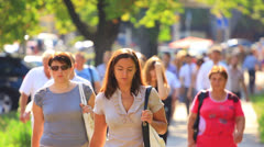 Crowd  people in city  summer day. Stock Footage