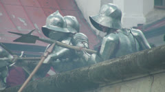 The battle for the fortress of medieval warriors - stock footage
