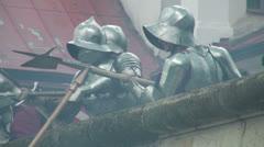 Taistelu linnoitus keskiajan soturit Arkistovideo