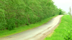 Directions machine on a forest road Stock Footage