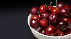 Fresh cherries dark background Stock Illustration