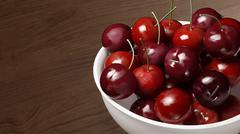 fresh cherries with wood table 1 - stock illustration