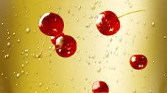 fresh cherry falling down champagne - stock illustration