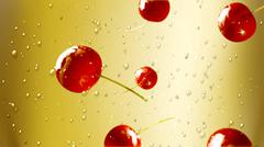 fresh cherry falling down champagne 2 - stock illustration
