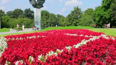 Szczecin Poland flowers and monument Stock Footage