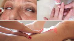 Esthetician - depilatory wax, make-up, manicure Stock Footage