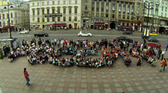 Flashmob in St. Petersburg Stock Footage