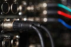 Audio XLR cables in the pro recorder. Stock Photos