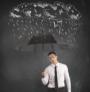 difficulty in business with umbrella - stock illustration