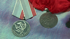 Veteran of labour medal Stock Footage