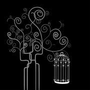 Swirl tree bird cage Stock Illustration