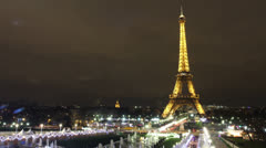 Time Lapse of Eiffel Tower at night. Stock Footage