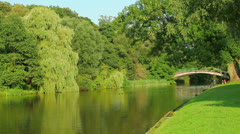 Green trees in park with lake and old bridge at summer Stock Footage