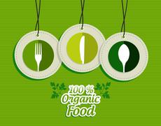 Hanging green silverware sign icons labels set Stock Illustration