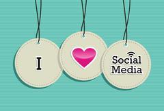 Social media hang tags label set Stock Illustration